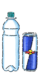 Red Bull Can VS Plastic Bottle Packaging Icon