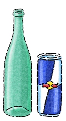 Red Bull Can VS Glass Bottle Packaging Icon
